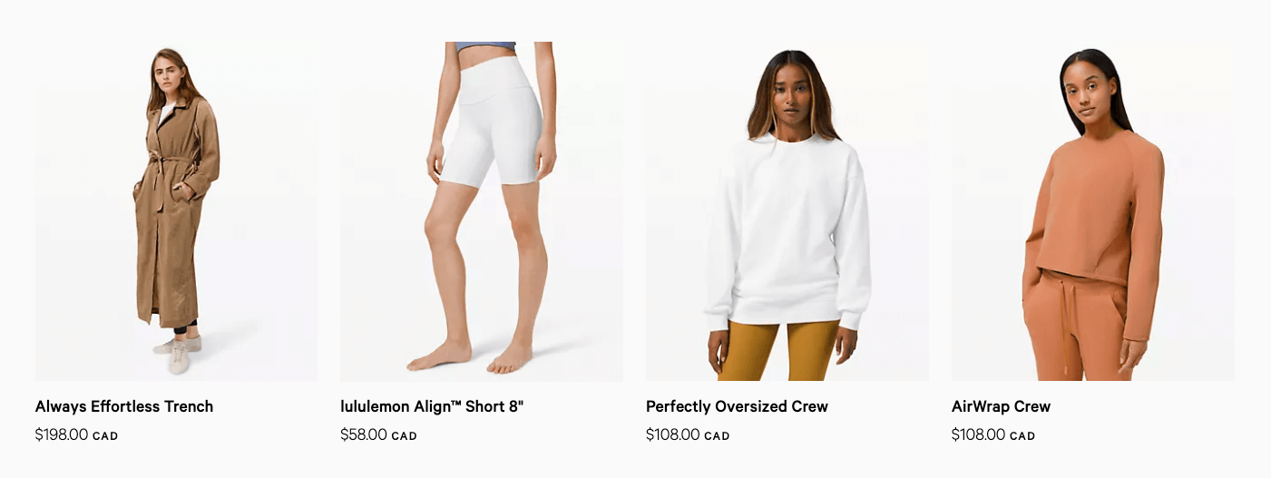 Lululemon whole-dollar pricing example